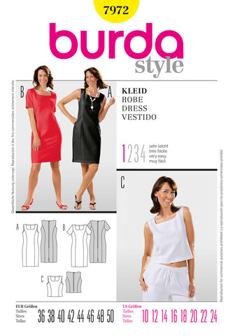 Burda - BD7972 Misses Dress & Top | Very Easy - WeaverDee.com Sewing & Crafts - 1