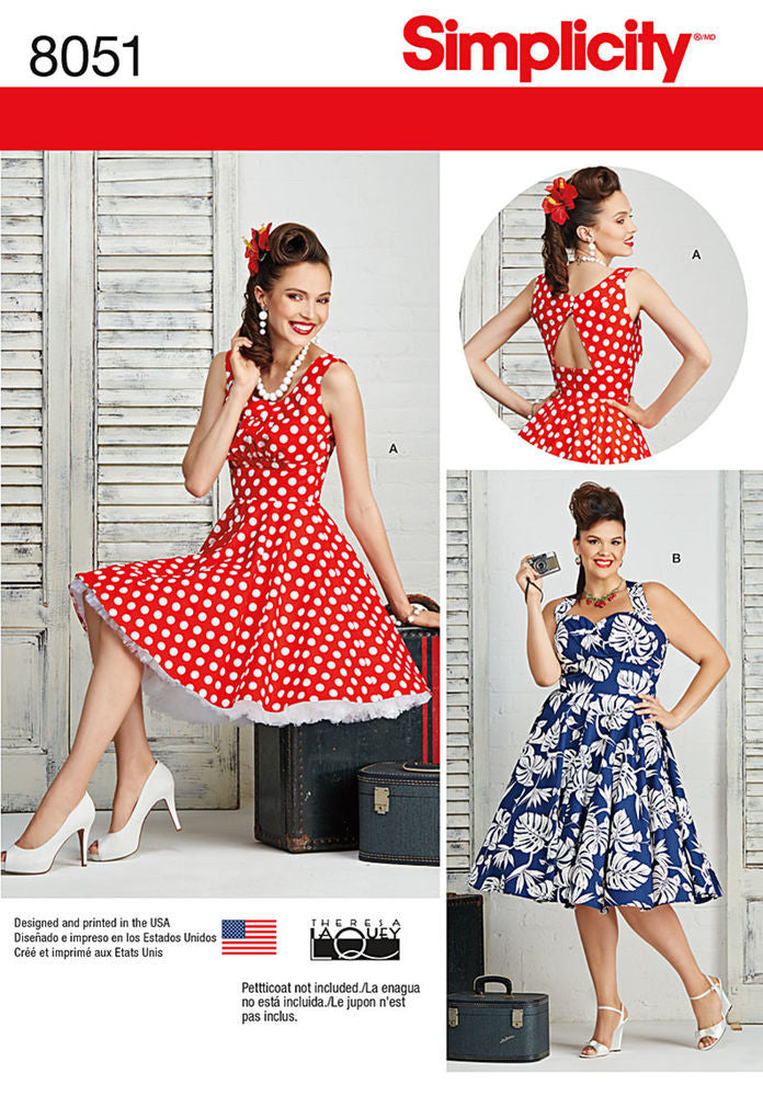 Simplicity Pattern S8051 Misses Plus Size Rockabilly Dresses