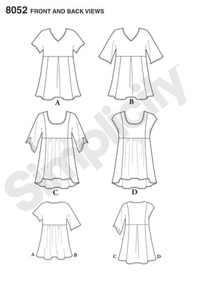 Simplicity - S8052 Misses' Easy-to-Sew Tops - WeaverDee.com Sewing & Crafts - 1