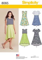 Simplicity - S8065 Girls' & Girls' Plus Dress or Popover Dress - WeaverDee.com Sewing & Crafts - 1