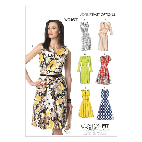 Vogue - V9167 Misses' Notch-Neck Princess-Seam Dresses | Easy - WeaverDee.com Sewing & Crafts - 1
