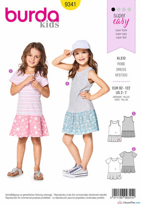 Burda Pattern BD9341 Child's Summer Jersey Dresses