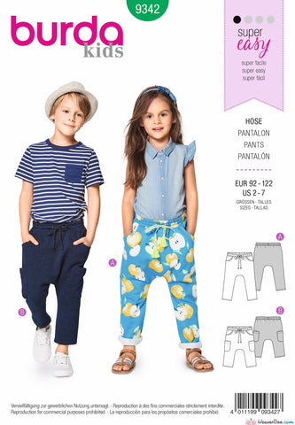 Burda Pattern BD9342 Child's Elastic Waistband Trousers