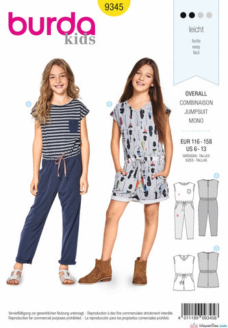 Burda Pattern BD9345 Child's Summer Jumpsuit