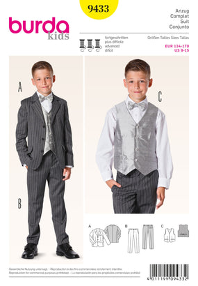 Burda - BD9433 Boys Suit | Advanced - WeaverDee.com Sewing & Crafts - 1
