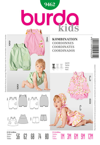 Burda - BD9462 Babies' Outfit Pieces | Easy - WeaverDee.com Sewing & Crafts - 1