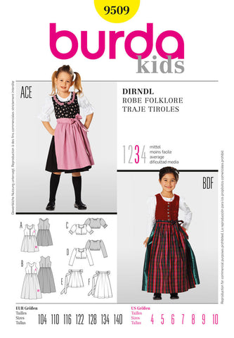Burda - BD9509 Girls' Dirndl Dress - WeaverDee.com Sewing & Crafts - 1