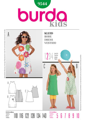 Burda - BD9544 Girls' Dress | Easy - WeaverDee.com Sewing & Crafts - 1