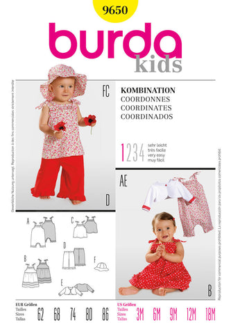 Burda - BD9650 Baby Girls' Summer Outfits | Very Easy - WeaverDee.com Sewing & Crafts - 1