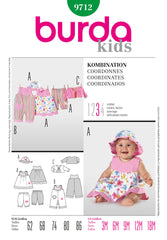 Burda - BD9712 Baby Girls' Outfits - WeaverDee.com Sewing & Crafts - 1