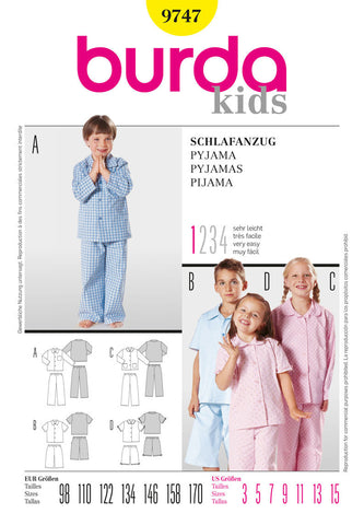 Burda - BD9747 Childrens' Pyjamas | Very Easy - WeaverDee.com Sewing & Crafts - 1