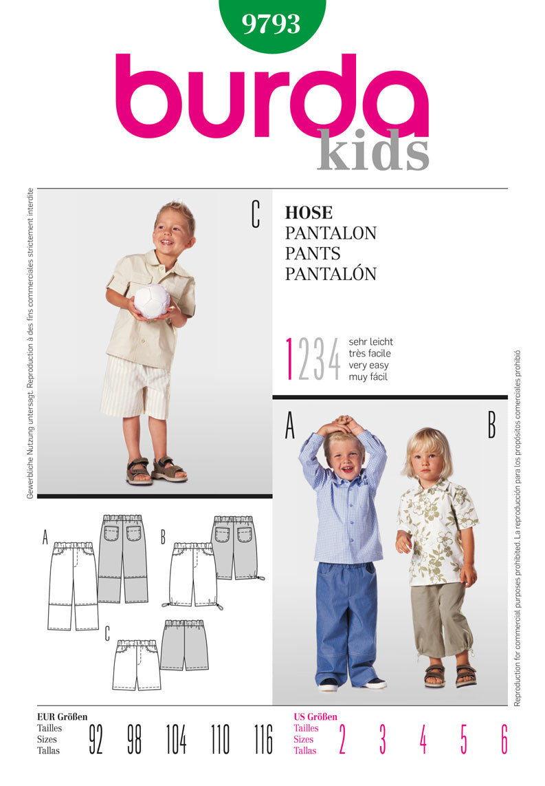 Burda - BD9793 Boys' Trousers | Very Easy - WeaverDee.com Sewing & Crafts - 1