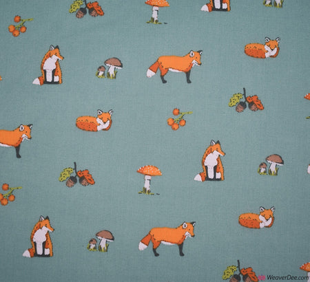 Premier Print Poly Cotton Fabric - Acorn Fox / Light Teal
