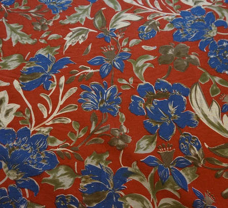 Adelaide Red Floral Cotton Lawn Fabric