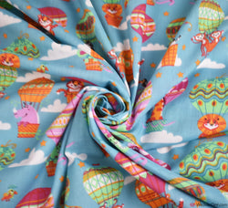 Poly Cotton Fabric - Animal Hot Air Balloons - Teal