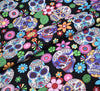 Rose & Hubble Cotton Poplin Fabric - Aztec Skulls Black