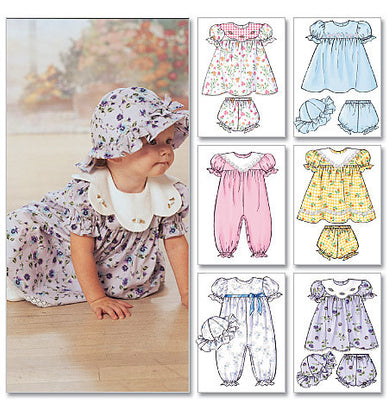 Butterick - B4110 Infants' Dress, Panties, Jumpsuit & Hat - WeaverDee.com Sewing & Crafts - 1