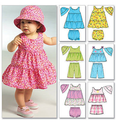Butterick - B5017 Infants' Top, Dress, Panties, Shorts, Pants & Hat - WeaverDee.com Sewing & Crafts - 1