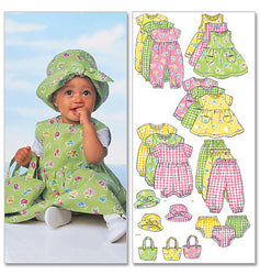 Butterick - B5624 Infants' Dress, Jumper, Romper, Jumpsuit, Panties, Hat & Bag - WeaverDee.com Sewing & Crafts - 1