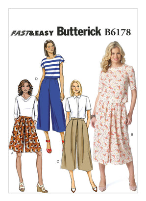 Butterick Pattern B6178 Misses' Pleated Culottes