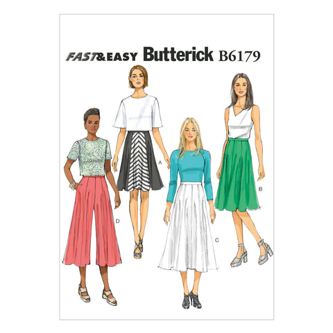 Butterick - B6179 Misses' Skirt & Culottes | Very Easy - WeaverDee.com Sewing & Crafts - 1