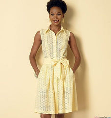 Butterick - B6333 Misses'/Miss Petite/Women's/Women Petite Shirtdress & Sash | Easy - WeaverDee.com Sewing & Crafts - 1