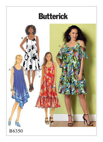 Butterick - B6350 Misses' Sleeveless & Cold-Shoulder Tent Dresses - WeaverDee.com Sewing & Crafts - 1