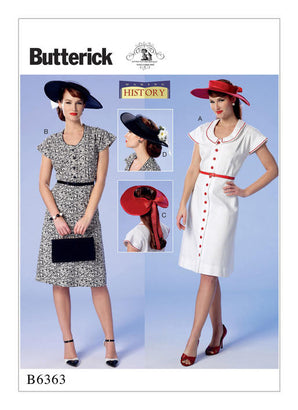 Butterick - B6363 Vintage 1950s Misses' Button-Front, Flutter Sleeve Dresses & Sun Hats - WeaverDee.com Sewing & Crafts - 1