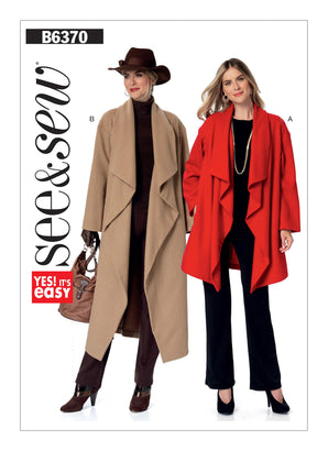 Butterick - B6370 Misses' Shawl Collar Jacket & Coat | See & Sew - WeaverDee.com Sewing & Crafts - 1