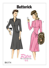 Butterick - B6374 Vintage 1940s Misses' Swan-Neck or Shawl Collar Dresses - WeaverDee.com Sewing & Crafts - 1