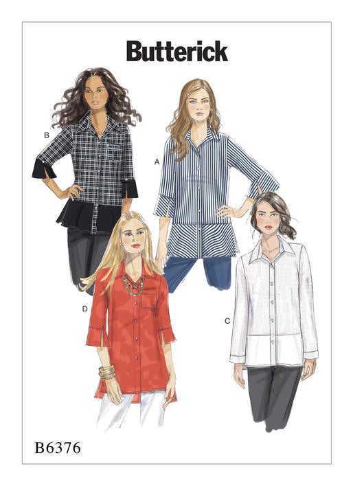 Butterick - B6376 Misses' Button-Down Shirts with Side Slits - WeaverDee.com Sewing & Crafts - 1
