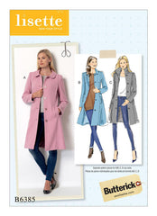 Butterick - B6385 Misses' Funnel-Neck, Peter Pan or Pointed Collar Coats - WeaverDee.com Sewing & Crafts - 1