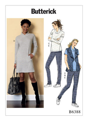 Butterick - B6388 Misses' Tops & Dress, Draped Collar Vest & Pleated Pants - WeaverDee.com Sewing & Crafts - 1