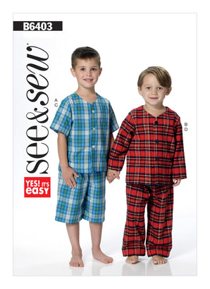 Butterick Pattern B6403 Children's/Boys' Button-Down Tops & Pull-On Shorts & Pants | See & Sew