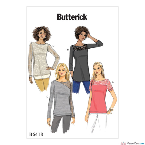 Butterick - B6418 Misses' Knit, Lace-Detail Tops - WeaverDee.com Sewing & Crafts - 1