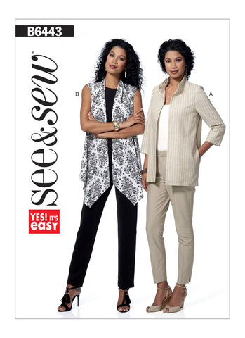 Butterick Pattern B6443 Misses' Open-Front Jackets | See & Sew