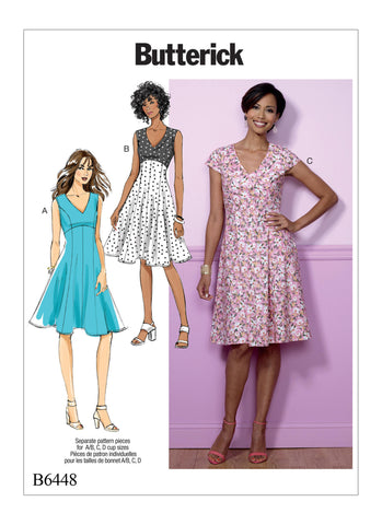 Butterick Pattern B6448 Misses' Fit-and-Flare, Empire-Waist Dresses