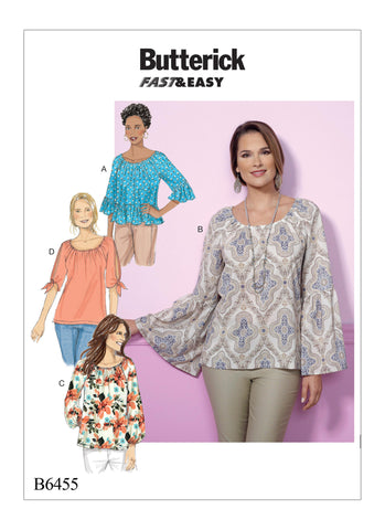 Butterick Pattern B6455 Misses' Gathered, Raglan Sleeve Tops