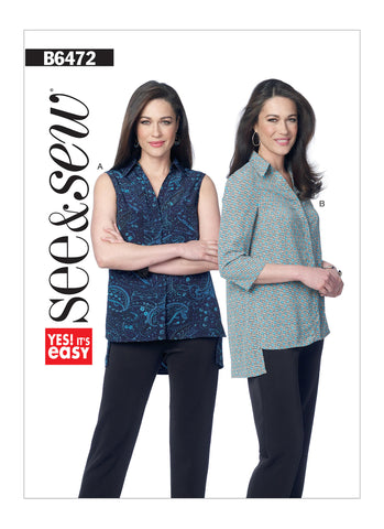 Butterick Pattern B6472 Misses' Loose-Fitting Button-Up Shirts with Stepped Hem | See & Sew