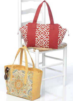 Butterick Pattern B6477 Lined Tote Bags with Zipper & Contrast Variations | See & Sew