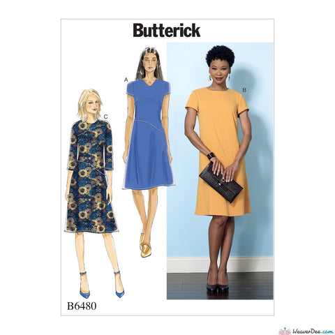 Butterick Pattern B6480 Misses' Dresses with Hip Detail, Neck & Sleeve Variations