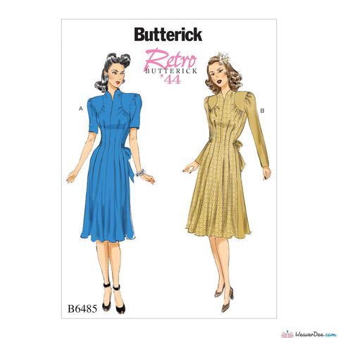 Butterick Pattern B6485 Vintage 1940s Misses' Dresses with Shoulder & Bust Detail, Waist Tie, & Sleeve Variations