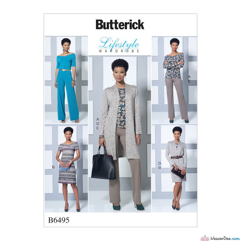 Butterick Pattern B6495 Misses' Knit Off-the-Shoulder Top, Dress & Jumpsuit, Jacket & Pull-On Pants