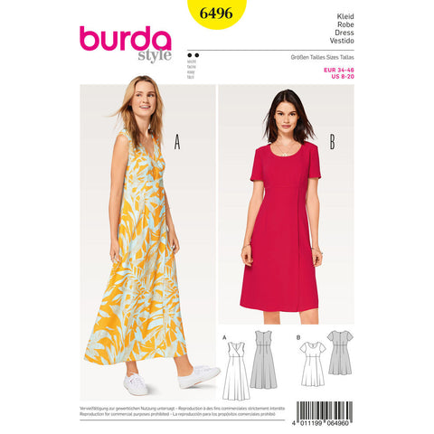 Burda - BD6496 Misses' High Waist Dress - WeaverDee.com Sewing & Crafts - 1