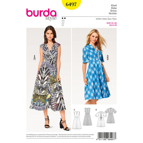 Burda - BD6497 Misses' V-Neck Dress - WeaverDee.com Sewing & Crafts - 1