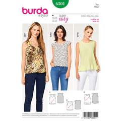 Burda - BD6501 Misses' Top with Flounce - WeaverDee.com Sewing & Crafts - 1