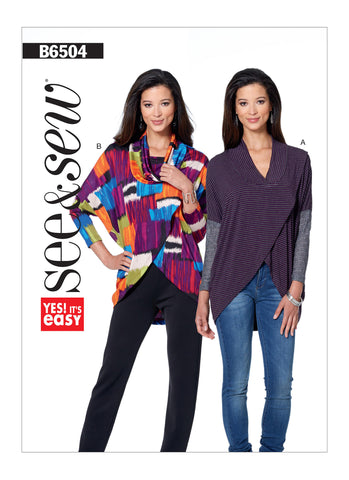 Butterick Pattern B6504 Misses' Cowl or V-Neck Wrap Top | See & Sew