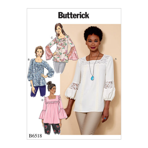 Butterick Pattern B6518 Misses' Square-Neck Top with Yoke