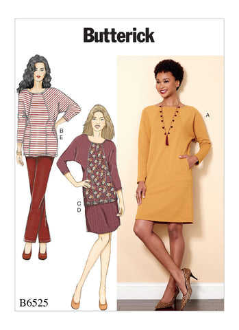 Butterick Pattern B6525 Misses' Knit Dress & Tunic, Skirt & Pants