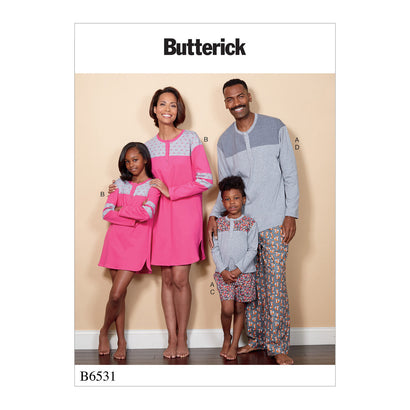 Butterick Pattern B6531 Unisex Child / Adult Top, Tunic, Shorts & Pants